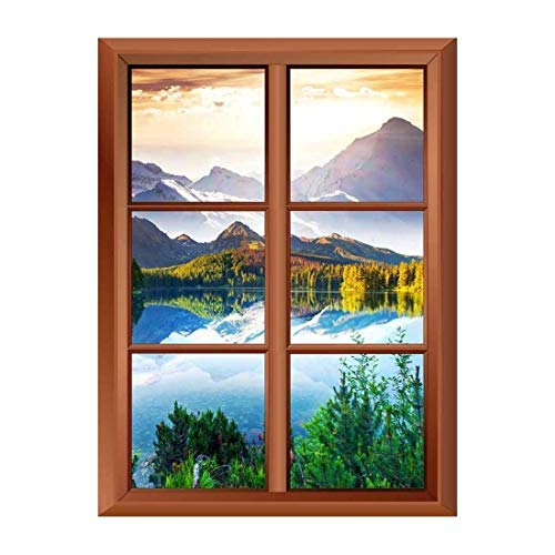 Removable Wall Sticker Wall Mural Fantastic Sunny Day in Mountain Lake Creative Window View Vinyl Sticker