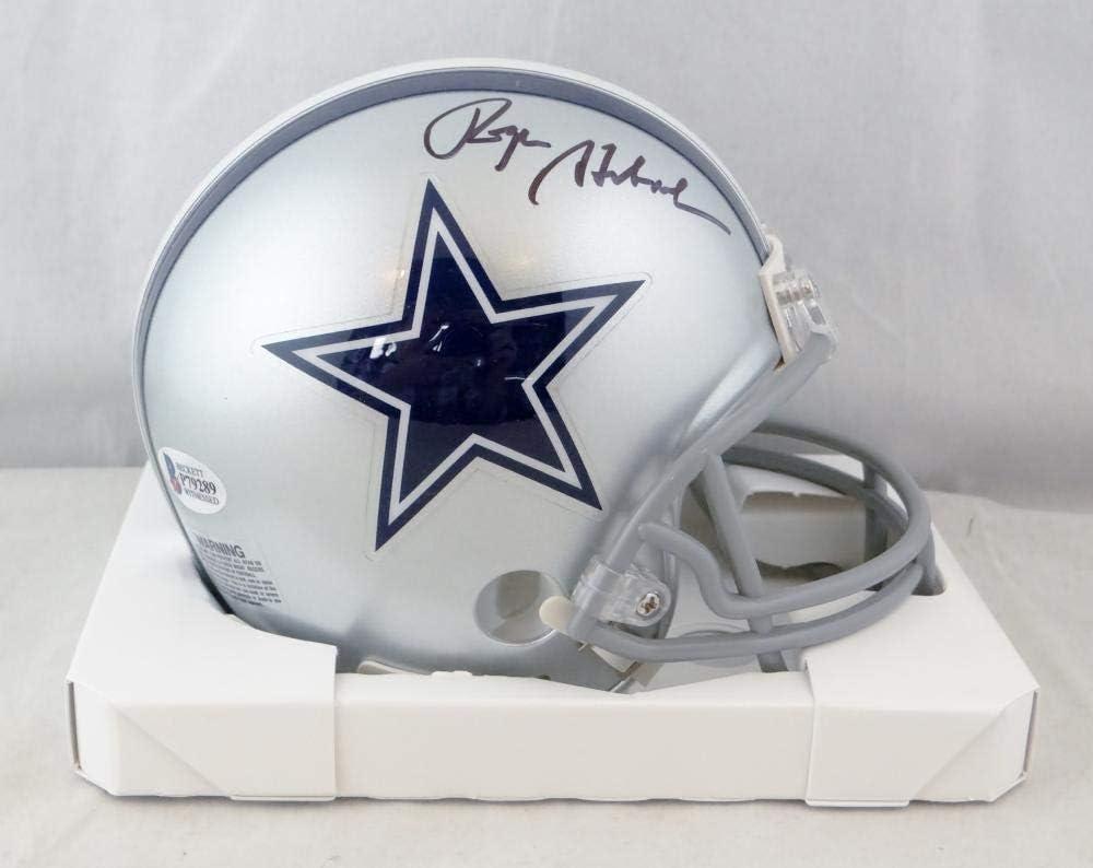 Beckett Auth Black Roger Staubach Autographed Dallas Cowboys Mini Helmet