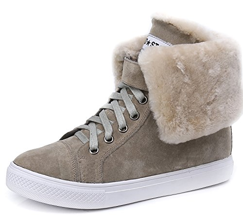 D2c Beauty Womens Lace-up Bont Snowboots Warme Sneakers Zand