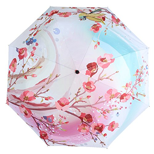 Molshine Anti-skid Matte Handle Rainning And Anti-UV Folding Umbrella for Women (flower) ()