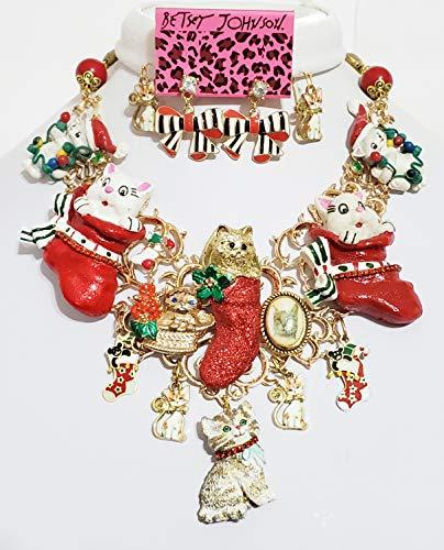 Amazon Com 8 Vintage Christmas Cat Pendants Bib Necklace Tag Betsey Johnson Earrings One Of A Kind Handmade