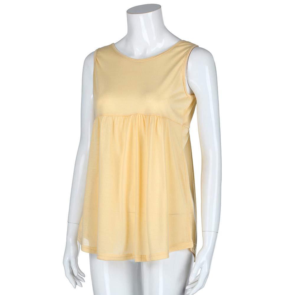 Women Fashion Plus Size Vest Summer Sleeveless Cami Scoop Neck Cotton Top Shirt Safety Blouse Khaki by iLUGU (Image #4)
