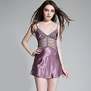 Xing Han Ropa De Dormir Pijama Mujer Hielo De Verano Tiras De Seda Camisón  Encaje Bustiers fc47fd2db20c