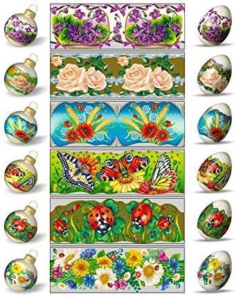 Pysanka Pysanky Eggs Heat Shrink Sleeves,#33 Easter Egg Wraps for 7 Hen Eggs