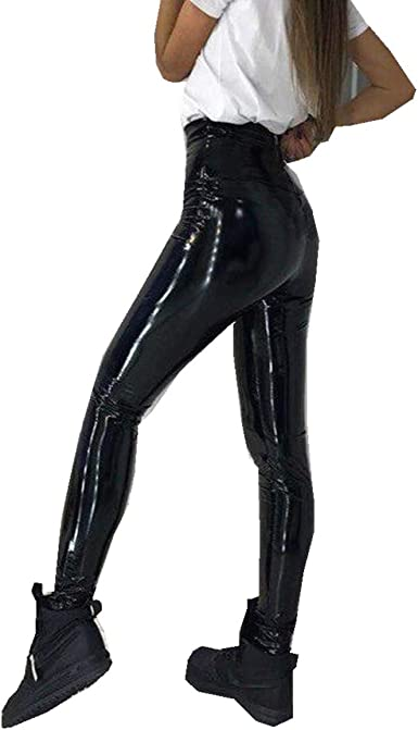 BaZhaHei Mujeres Pu Leggins cuero Skinny Elásticos pantalones ...
