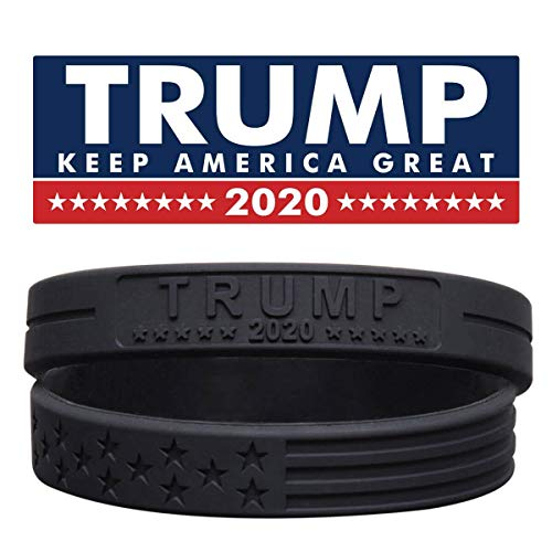 Sainstone Trump Keep America Great with American Flag for President 2020 Silicone Bracelets with Durable Debossed Text - Rubber Motivational Wristbands - Adults Gifts for Teens Men Women (Black)