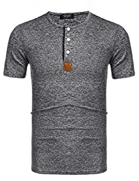 COOFANDY Men's Casual Slim Fit Henley Shirts T-Shirts