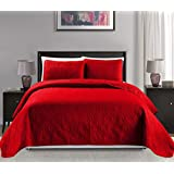 "Mk Collection King/California king over size 118""x106"" 3 pc Diamond Bedspread Bed-cover Embossed solid Red New"