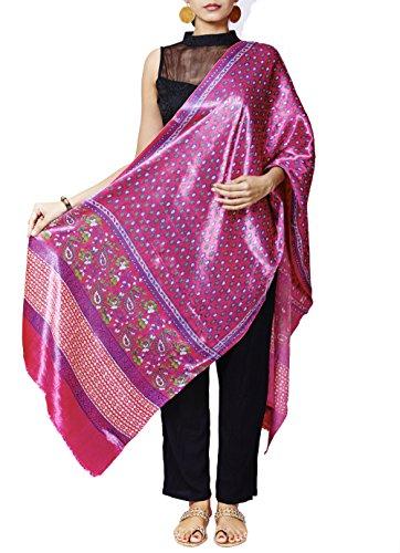 Gleamberry Women's Magenta Mashru with Block Print Handloom Dupatta