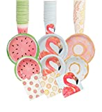 Gorgeous FLAMINGO Summer Party Pack Tablewear - 16 Cups, 16 Bowls, 16 Plates, 24 Napkins all in fun summer style