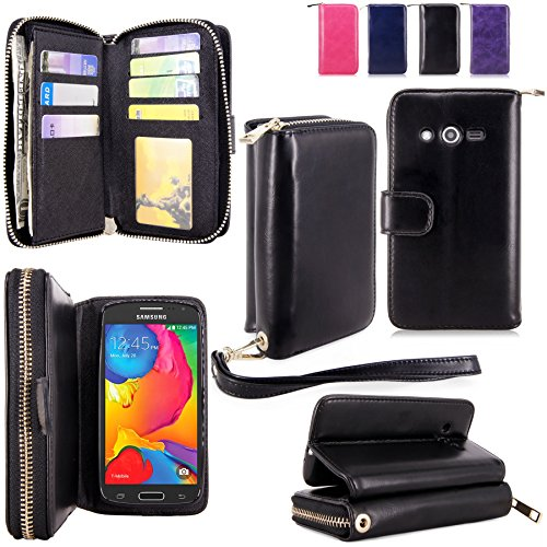 For Samsung Galaxy Avant Case - Cellularvilla PU Leather Flip Wallet Bag Pouch Case with Credit Card Slots Pockets Cover For Samsung Galaxy Avant G386 (T-Mobile) (Black1)