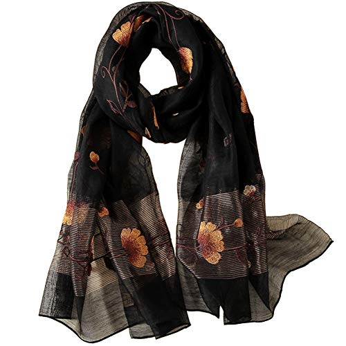 (Alysee Women Warm Exquisite Silk&Wool Mixed Embroidered Scarf Headwrap Shawl Black)