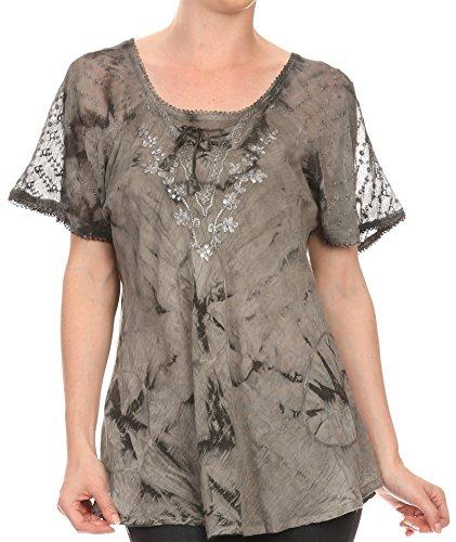 Sakkas 16483 - Hana Tie Dye Relaxed Fit Embroidery Cap Sleeves Peasant Batik Blouse/Top - Grey - (Sequin Peasant Top)