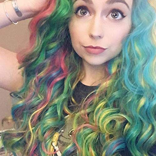 Imstyle Rainbow Lace Front Wigs Long Colorful Green Wigs Loose Wavy Dark Root Synthetic Hair Wig Glueless Heat Resistant With Natural Hairline 24 Inch