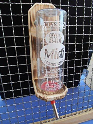Holz Flaschenhalter Trinkflaschen für Nager Meerschweinchen geflammt 0,75ml - 600 ml auswählen (Halter 320 ml)