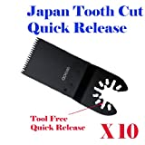 Pack of 10 Japan Tooth Course Quick Release Universal Fit Multi Tool Oscillating Multitool Saw Blade for Craftsman 20v Bolt-on Mm20 Rockwell Hyperlock Shopseies 12v Universal Fit Porter Cable Black and Decker Bosch GOP Tool Free Quick Release System