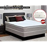 Greaton, 10 Pillowtop Assembled Orthopedic Mattress and Box Spring, With Bonus Pillow Queen Size White And Gold