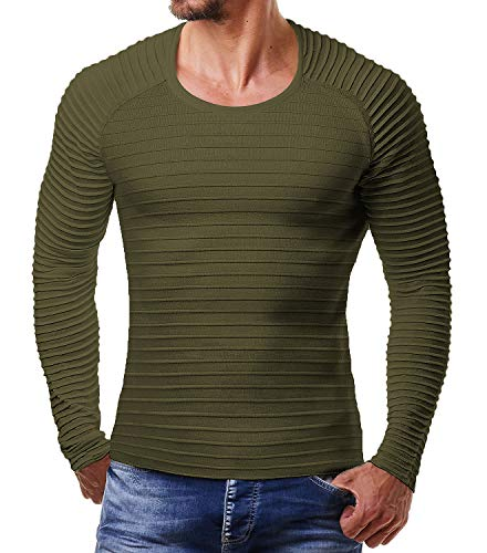 Coofandy Men's Cable Knit Jumper Sweater Crew Neck Stripe Long Sleeve Pullover, 2- Army Green, L