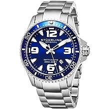 Stuhrling Original Mens Swiss Quartz Stainless Steel Professional Sport Dive Watch, Water-Resistant 200 Meters, Blue Dial, Easy-Adjustable Bracelet, Screw Down Crown 842 Series (Blue)