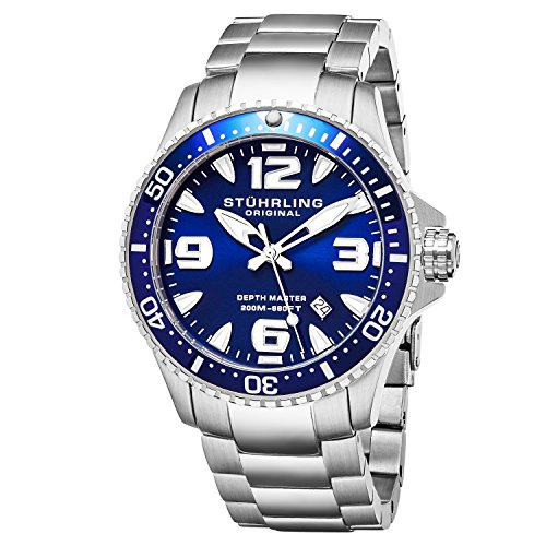 Stuhrling Original Mens Swiss Quartz Stainless Steel Professional Sport Dive Watch, Water-Resistant 200 Meters, Blue Dial, Easy-Adjustable Bracelet, Screw Down Crown 842 Series (Blue)