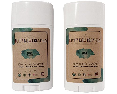 Certified Organic Kids Deodorant Stick (Dirty Kids Organics) UnscentedPure Vegan, Non-Toxic, Non-GMO, Paraben Aluminum Free Kids Natural Deodorant for Kids Boys Girls 24 Hour Kid Deodorant 2 Pack