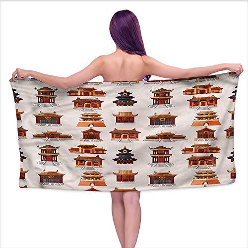 Tankcsard Bath Towel 3D Digital Printing Set Ancient China,Antique House Pattern,W20 xL39 for - Charcoal Atelier