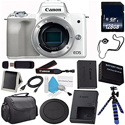 6Ave Canon EOS M50 Mirrorless Digital Camera (Silver) (International Model) + LP-E12 Replacement Lithium Ion Battery + 128GB SDXC Class 10 Memory Card + SD Card USB Reader Bundle