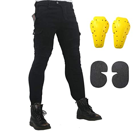 Black, L=32 Motorcycle Riding Jeans Armor Racing Cycling Pants with Upgrade Knee Hip Protective Pads