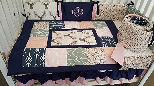 - Woodland 1 to 4 Piece baby girl nursery crib bedding Quilt, bumper, and bed skirt, Buck, deer, fawn, head silhouette, Arrow, Teepee, Aztec, Navy Coral, Gray, Pink