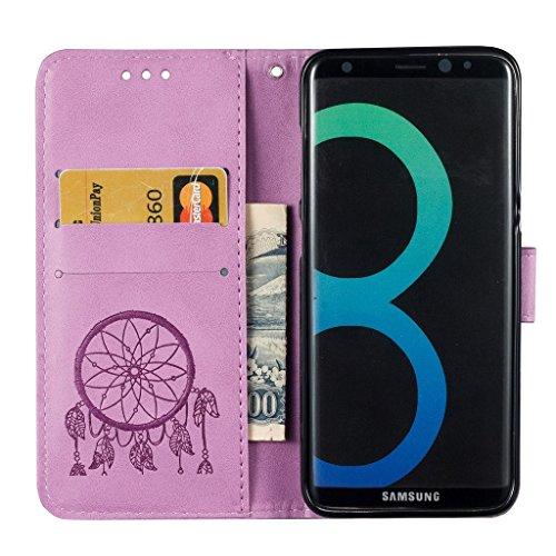 Funda Samsung Galaxy S8,Funda Libro Suave PU Leather Cuero impresión- EMAXELERS Carcasa Con Flip case cover,Funda Galaxy S8 gofrado diseño afortunado del trébol Flip case cover,wallet Case para Galaxy D Purple Dreamcatcher