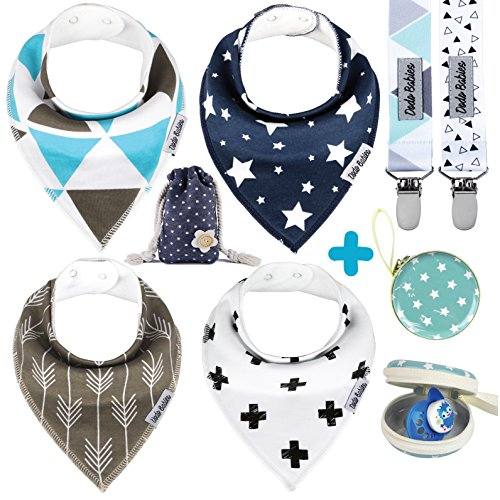 - Baby Bandana Drool Bibs by Dodo Babies + 2 Pacifier Clips + Pacifier Case in a Gift Bag, Pack of 4 Premium Quality for Boys Or Girls, Excellent Baby Shower/Registry Gift