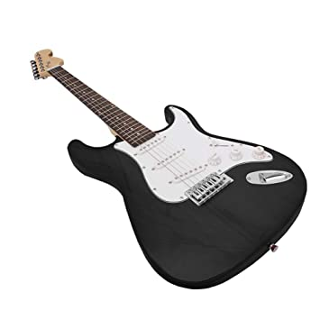 NUYI-4 Guitarra eléctrica Genuina ST Serie Guitarra eléctrica Negro Principiante práctica Tocando Guitarra eléctrica