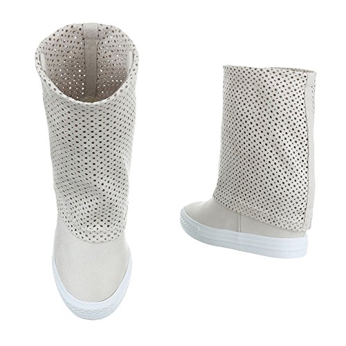 design Ital Chaussures Beige Femme Compensées pwOqd8w