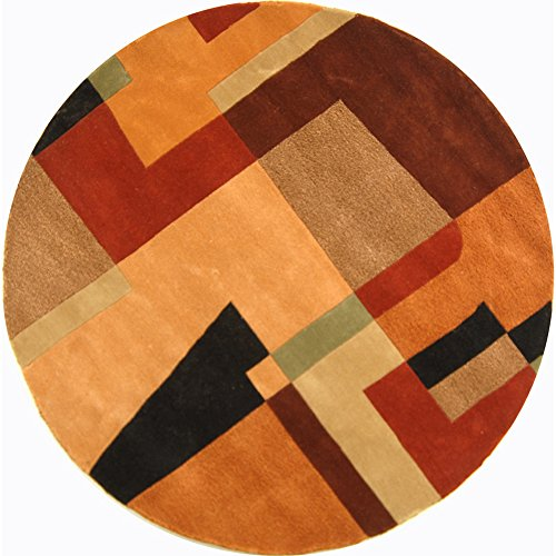 Safavieh Rodeo Drive Collection RD868A Handmade Modern Abstract Art Multicolored Wool Round Area Rug (4' Diameter) ()