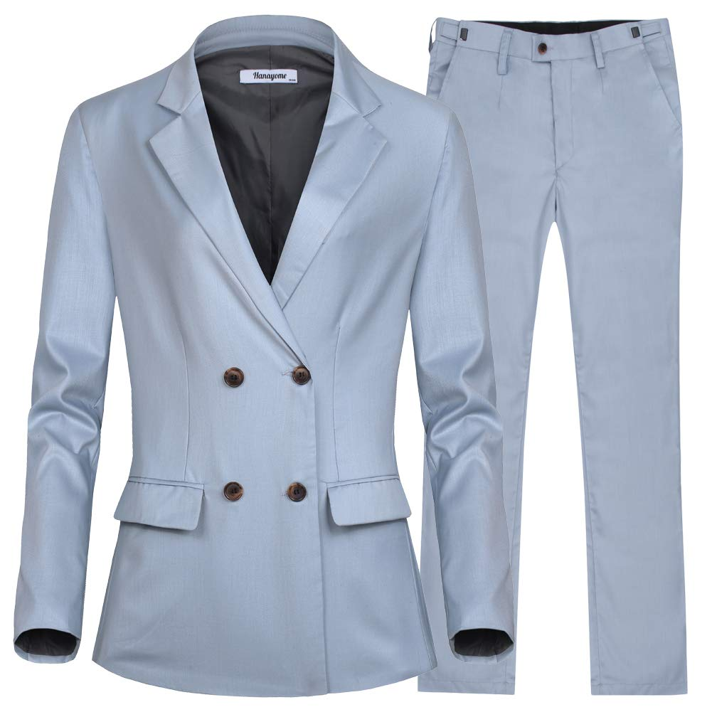 Women's Blazer Jacket 2 Pieces Double Breasted Clousure Collar Tops Pants (Sky Blue, 18W)