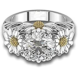 Two Tone Round Cut White Sapphire Daisy Promise Ring 925 Silver Women Jewelry#by pimchanok shop (7, White)
