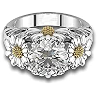 Two Tone Round Cut White Sapphire Daisy Promise Ring 925 Silver Women Jewelry#by pimchanok shop (9, White)