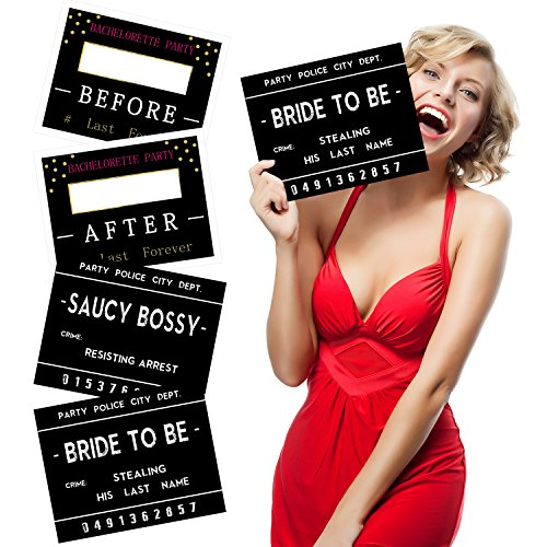 Bachelorette Mugshot Signs - 16 Unique Bridal Shower Photo Booth Props for Girls Night Out,2018 New Bachelorette Party Games for Wedding Party Decorations
