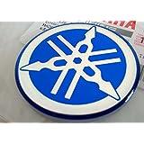 YAMAHA TUNING Emblem Sticker Logo / BLUE - CHROME /More size to select/ BODY GEL Resin Self-adhesive Moto / Jet Ski / ATV / Snowmobile (55mm.)
