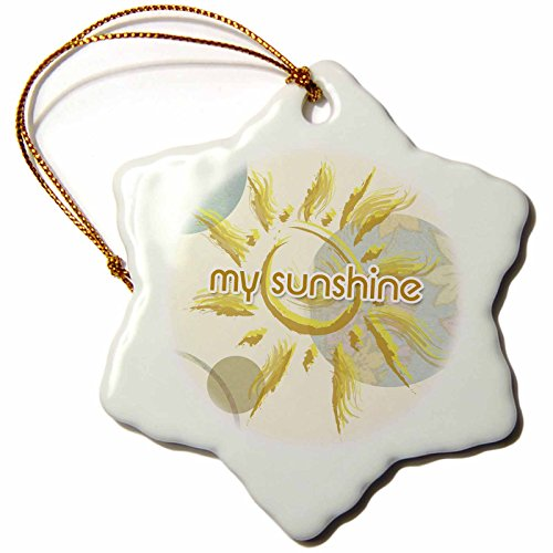 (3dRose PS Inspirations - Sun with You Ar My Sunshine - Lovable Art - 3 inch Snowflake Porcelain Ornament (orn_63664_1))