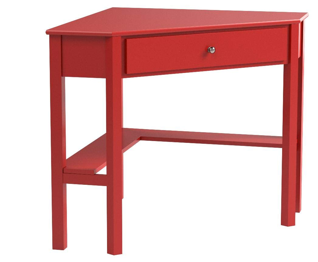 "Target Marketing Systems Ellen Corner Desk with One Drawer and One Storage Shelf, Red - The Corner Desk Measures 42"" X 28"" X 30"" and Weighs 36 Lbs. Arrives with Only Minimal Assembly Required. Comfortably Fitting in Any Home, Studio, Apartment, and Office, the Small Corner Writing Desk Maximizes Space in Compact Rooms. An Ideal Work Station or Vanity, the Corner Desk Serves a Variety of Functions. Featuring a Classic, Timeless Style, the Writing Desk is the Perfect Place for a Small Work Station. With Enough Tabletop Space for a Desktop Display or Laptop, the Corner Desk also has One Drawer and One Shelf to Store any other Items You May Have. - writing-desks, living-room-furniture, living-room - 517 y0TmrVL -"