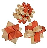 Brain Teaser 3-D Wooden Puzzles for Adults and Children, 3-puzzle Set