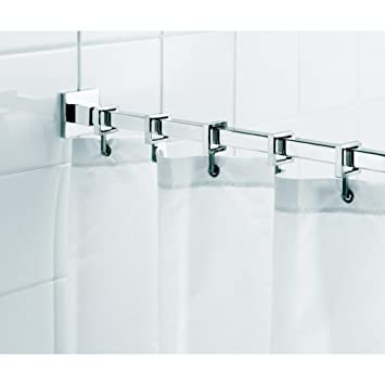 Beautiful Croydex Luxury Square Chrome Aluminum Square Shower Curtain Rod With Curtain  Hooks, 98 In.