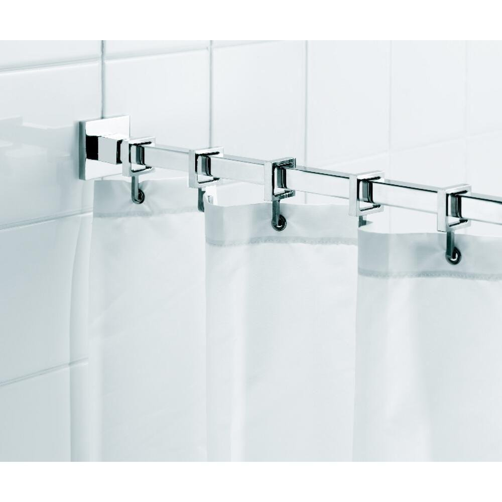 Croydex Luxury Chrome Aluminum Square Shower Curtain Rod with Curtain Hooks, 98.4 In.