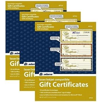 amazon com adams gift certificates laser inkjet compatible 3 up