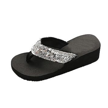 9be85f7efcb2 Sunday Women Summer Fashion Soft Sequins Flip Flops Ladies Casual Anti-