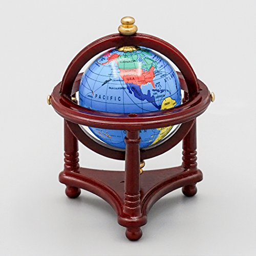 Odoria 1:12 Miniature Blue World Globe with Wooden Stand Dollhouse Furniture Accessories