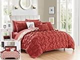 Chic Home 10 Piece Yael Pleated Pintuck and Aztec inspired printed REVERSIBLE with Elephant Embroidered pillow King Bed In a Bag Comforter Set Brick