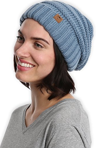 Slouchy Cable Knit Cuff Beanie - Chunky, Oversized Slouch Beanie Hats for Men & Women - Stay Warm & Stylish - Serious Beanies for Serious (Blue Knit Beanie Cap Hat)