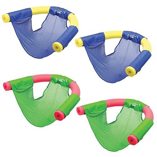 SwimWays (Set/4) Summer Fun Floating Pool Noodle Sling Mesh Chairs - Grn/Blu by SwimWays